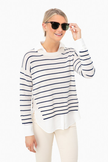 linen ivory layered stripe crewneck
