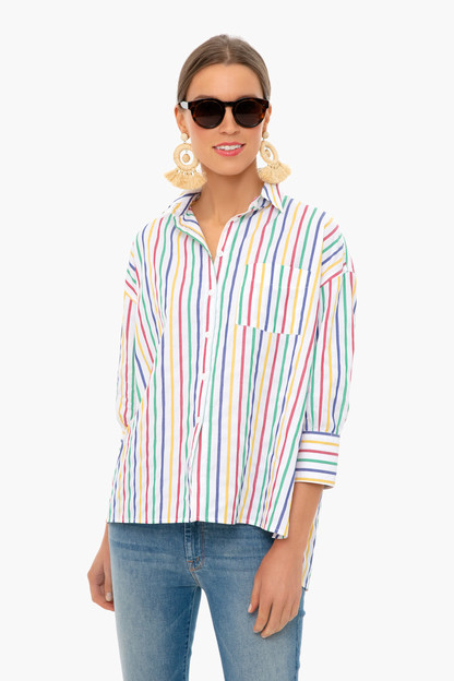 Rainbow Striped Adair Boyfriend Shirt