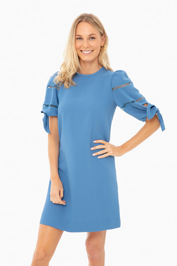 riverside blue tie sleeve dress