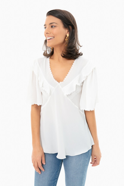 iconic milk ruffle blouse