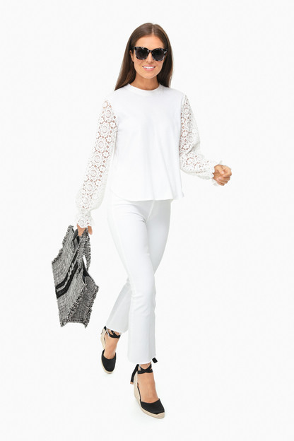 white powder lace sleeve top