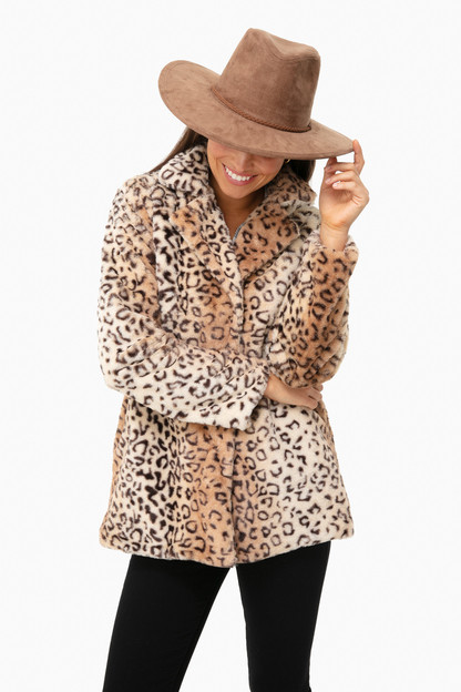 cozy collar faux fur leopard jacket