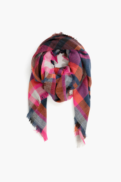 pink multi plaid scarf