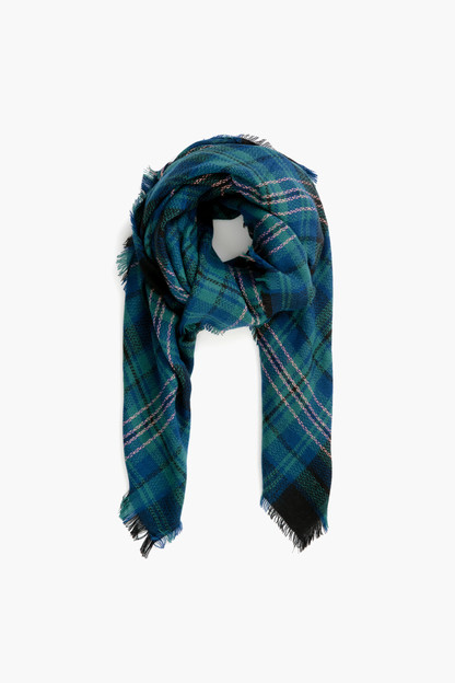 Blue Green Plaid Scarf