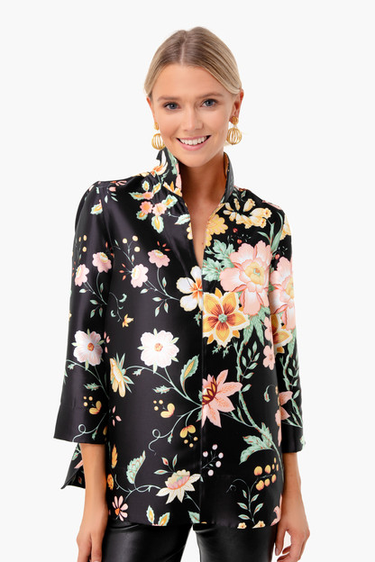 black floral margot top