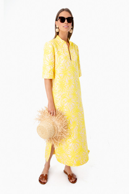 pink and yellow jacquard culebra dress
