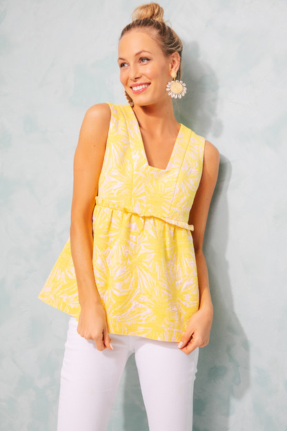 pink and yellow jacquard peplum lucia top