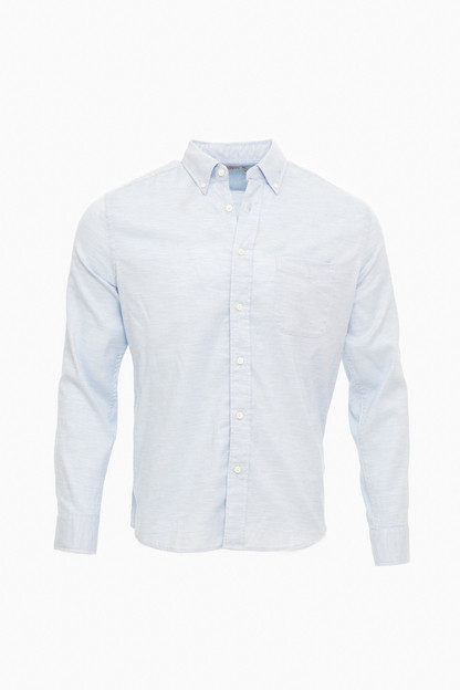blue heather stretch oxford shirt