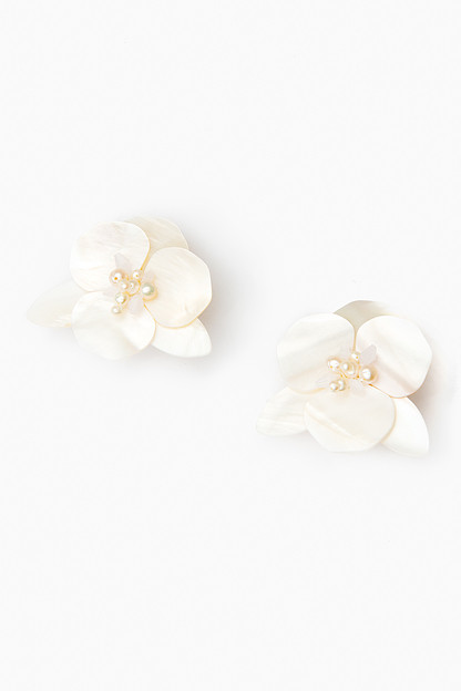 White Peony Earrings
