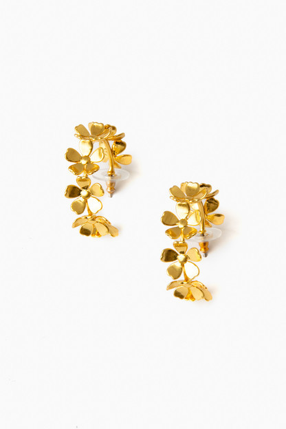 gold bloom hoop earrings