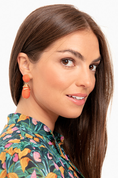 coral serpent lantern earrings