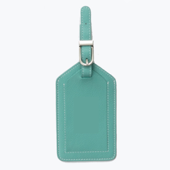 turquoise leather luggage tag