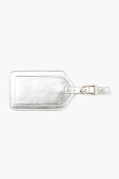 silver leather luggage tag