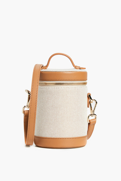 scout tan leather and canvas crossbody capsule bag