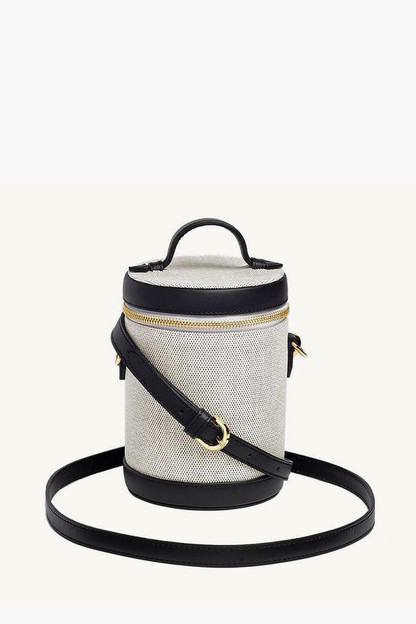 Domino Black Leather and Canvas Crossbody Capsule Bag