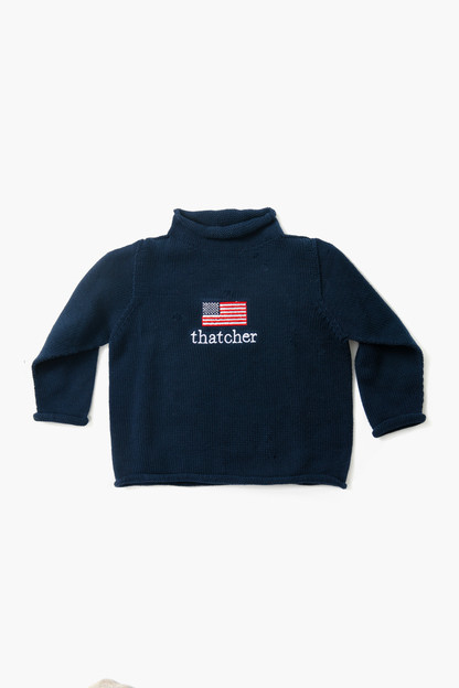 navy american flag roll neck sweater