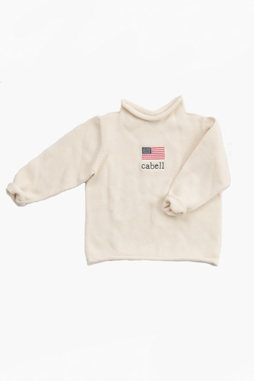 natural american flag roll neck sweater
