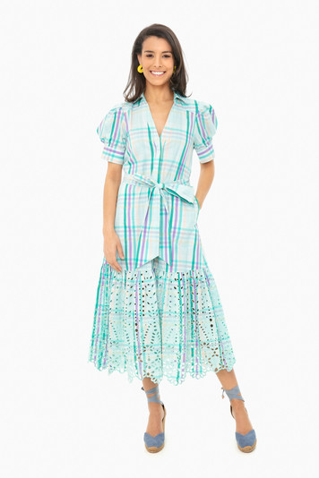 mint multi fern dress