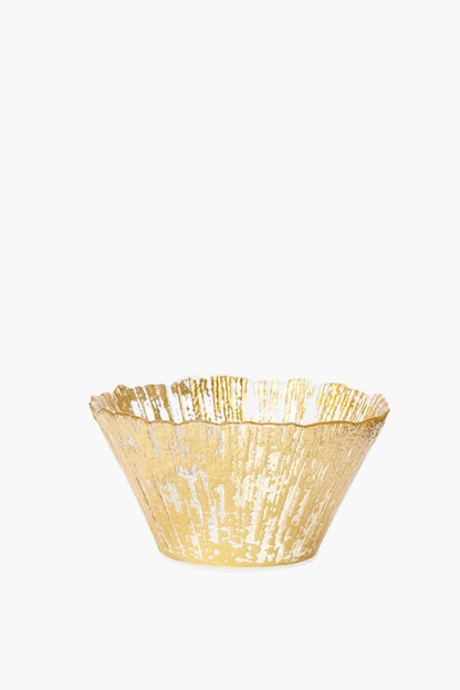 Rufolo Glass Gold Small Deep Bowl This item ships directly from the vendor within 3 business days.