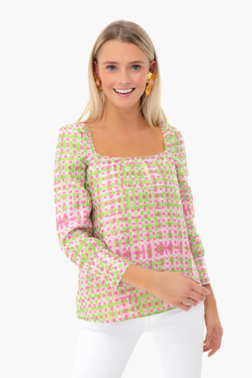 pink and green jacquard elise top