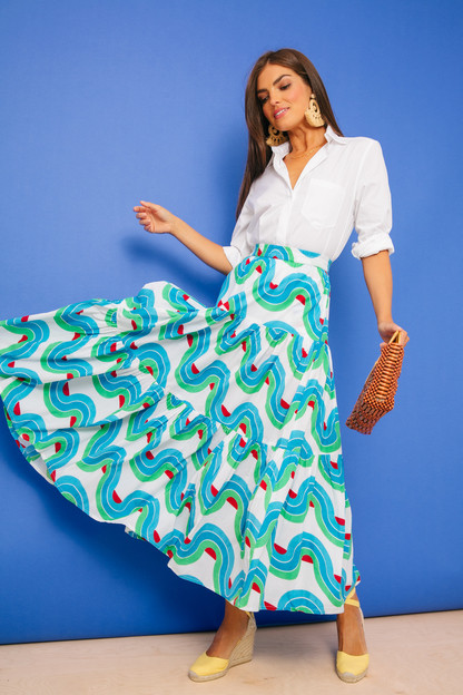nouveau tiered maxi skirt