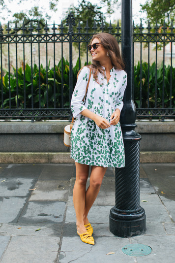 alma off white green leaf shirt dress
