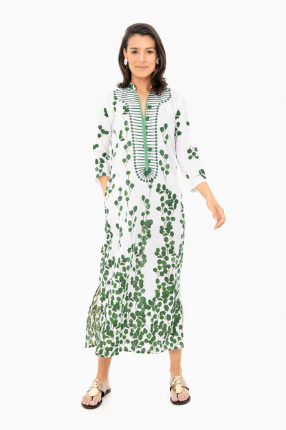clorinda off white green leaf long kurta