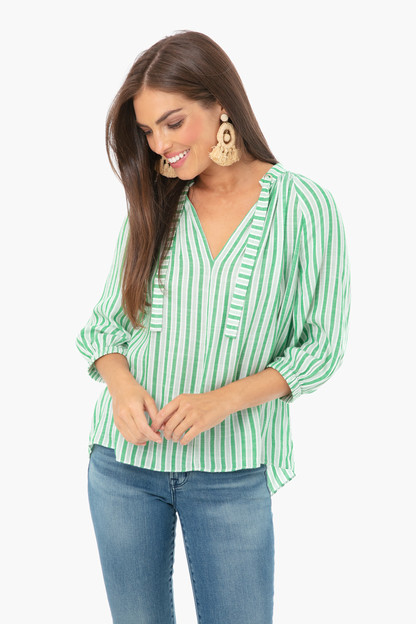 cassa green stripes top