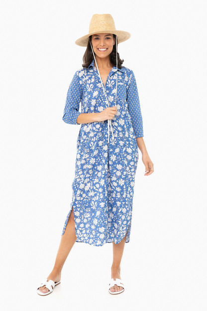 long brooklyn french blue mixed floral dress