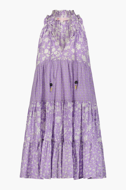 short sofia purple mixed floral ruffle dress