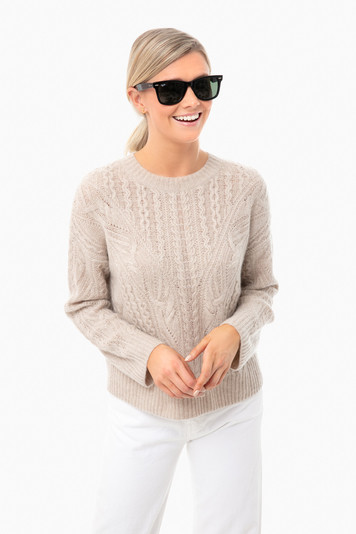 light heather taupe open knit cable crew
