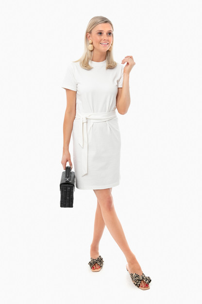 off white short sleeve tie waist dress
