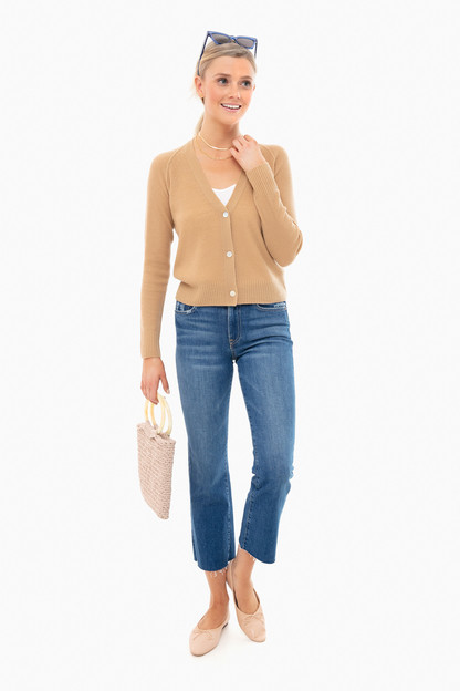 light dune ribbed raglan cardigan