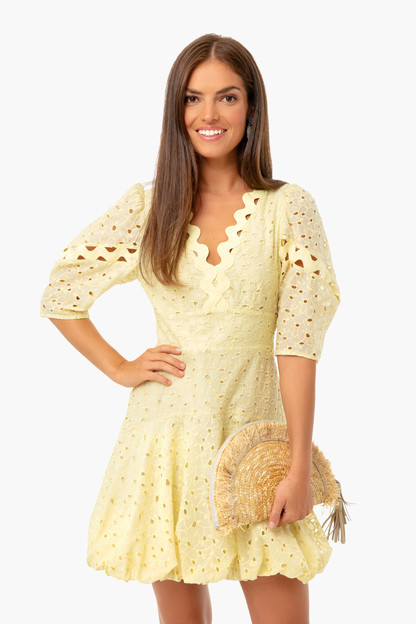 citron combo short sleeve audrey eyelet dress