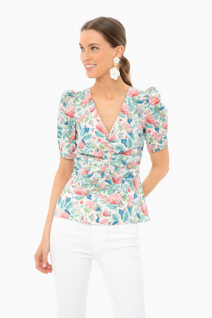 Cream Combo Short Sleeve Paint Garden Top