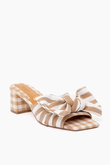 toffee stripe bow heels