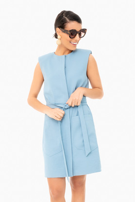 chalky drape short shirt dress with shoulder pads