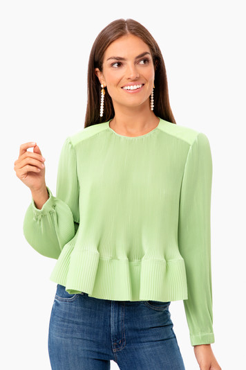 pleating long sleeve yoked pleated top