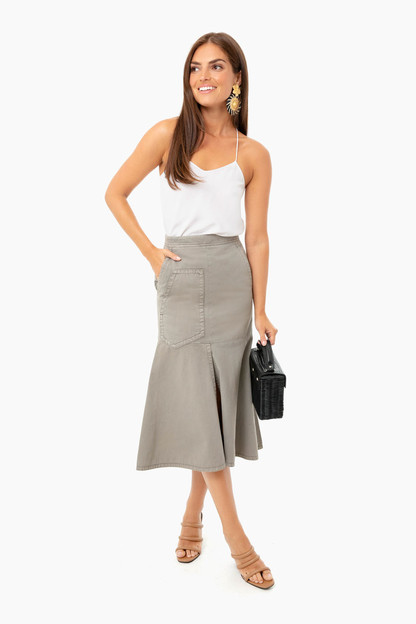 garment dyed twill front slit long skirt