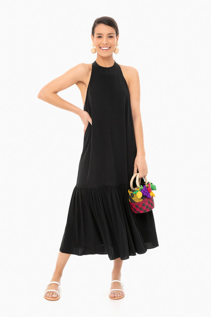 black eco silk halter midi dress