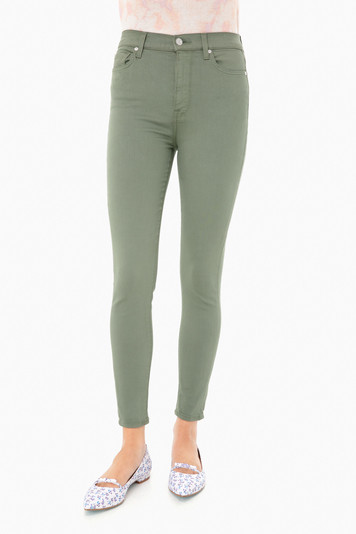 solid olive high waist ankle skinny