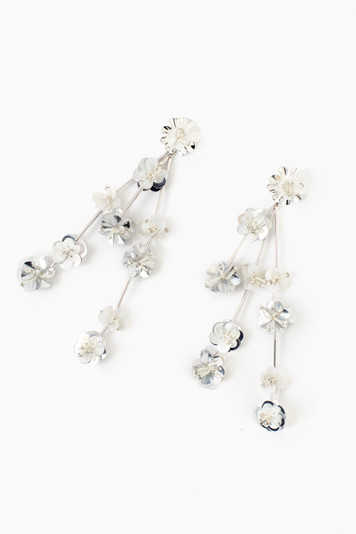 silver and white britta earring