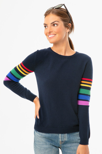 Navy Reboot Rainbow Arm Sweater