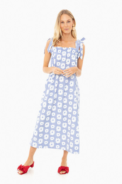 blue and white fan dress
