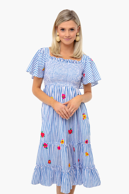 blue stripe lolita embroidered dress