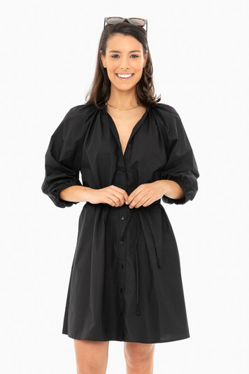 black mini hisa dress