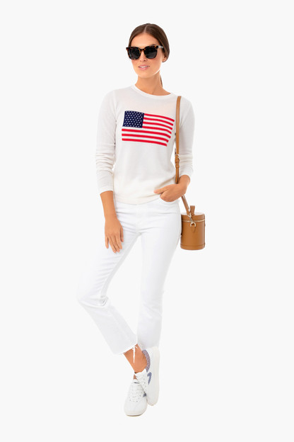 ivory flag intarsia sweater