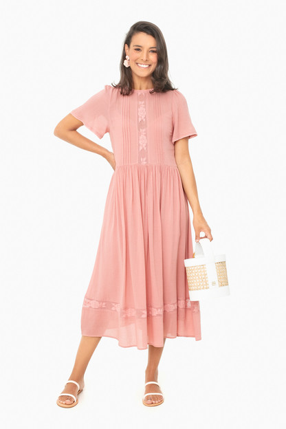 blush elliott midi dress