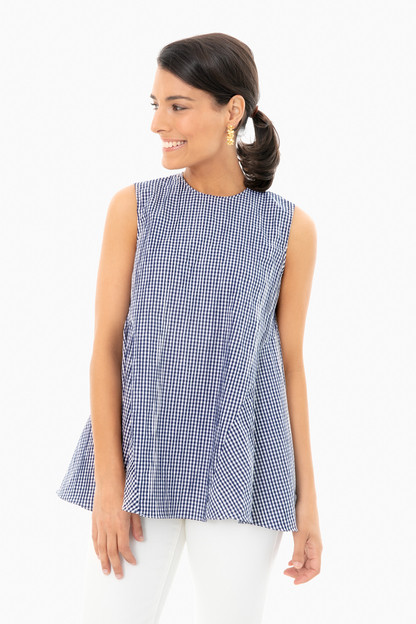 navy gingham lucia sleeveless top