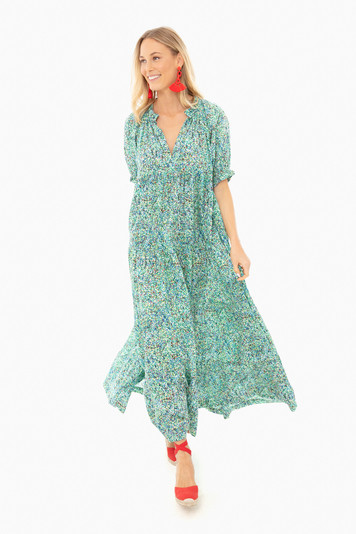 blue le bouganvillier screen printed long dress